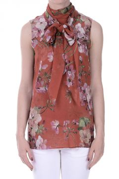 Sleeveless Printed Silk Top with Scarf