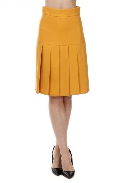 Pleated Wool and Silk Blend Skirt