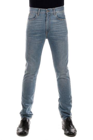 Jeans in Denim Effetto Délavé su Caviglia 16 cm