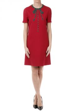 Embroidered Silk and Wool Blend Dress