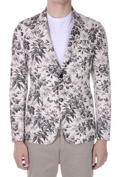 Printed Cotton Single Breasted Blazer