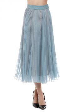 Pleated Stretch Silk Skirt