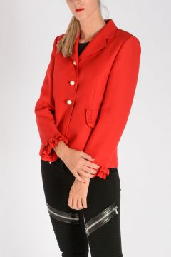 Silk wool Blazer With Rouches
