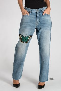 Jeans in Denim Ricamato 19 cm