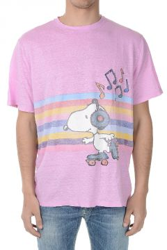 T-Shirt in Lino Con stampa Snoopy