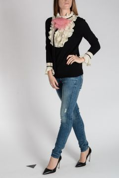 Wool Blend Sweater with Jabot Collar