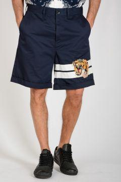 Tiger Embroidered Bermuda Shorts