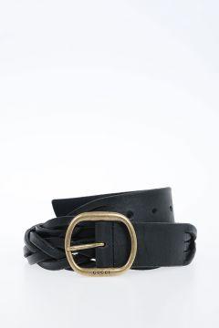 Cintura in Pelle Intrecciata 40 mm