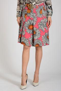 Silk and Wool Daisy Print Skirt