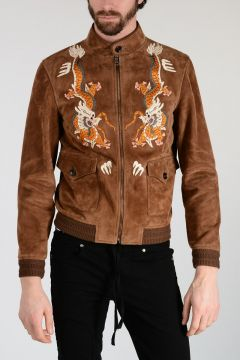 Leather Jacket With Wool Blend Embroidery