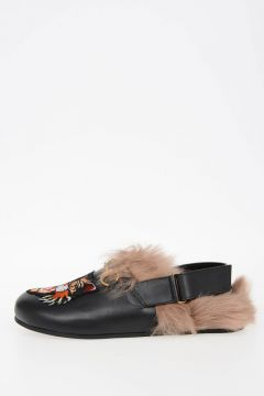 Leather Mules RIVER CAT with Fur Lining