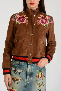 Suede Leather Flowers Embroidered Jacket