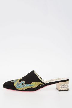 Embroidered Satin Mules