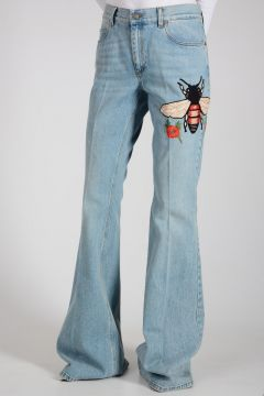 Cotton Denim Boot Cut Jeans 33 cm