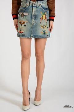 Denim Embroidered Miniskirt