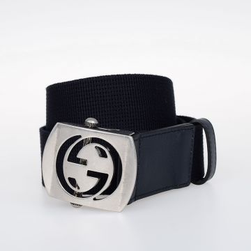 Fabric Belt with Leather Details 35 mm