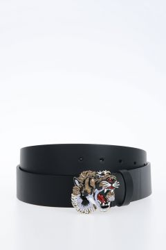 40mm Leather Belt With tiger  Buckle