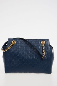 Leather Bag with Gold Chain