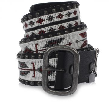 Studded leather belt with beads