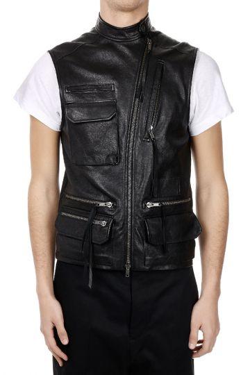 Leather sleeveless Jacket