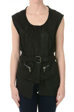 Leather Sleeveless Waistcoat