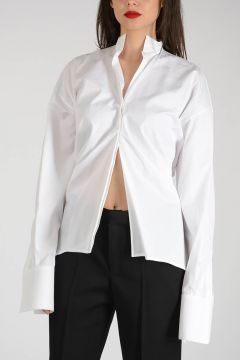 Cotton Popeline Asymmetric Cut Blouse
