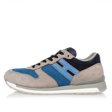 HOGAN REBEL Leather and Fabric Sneakers