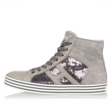 Suede Leather high top Sneakers with Paillettes