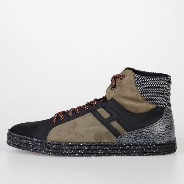 HOGAN REBEL Sneakers BASKET in Pelle e Tessuto