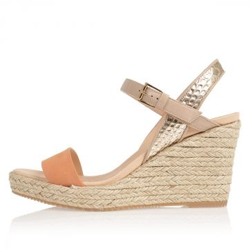 Suede Leather Wedge Sandals 9 cm