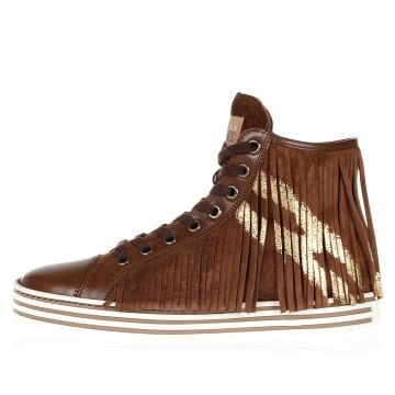 REBEL Suede leather high sneakers with Fringes