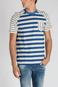 Striped THOUSAND FINGER MAN T-shirt SPACE