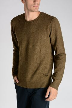 PETROI Stretch Wool & Camel Distressed Sweater