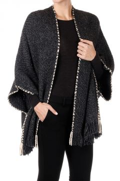 Mantella in lana Merino con Frange