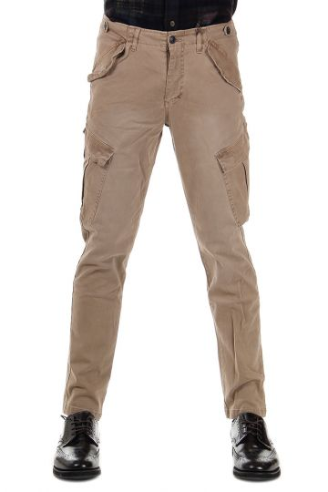 Pantaloni Multitasche in Cotone Stretch 18 cm