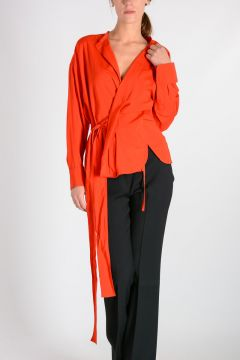Silk Blend Blouse with Belt