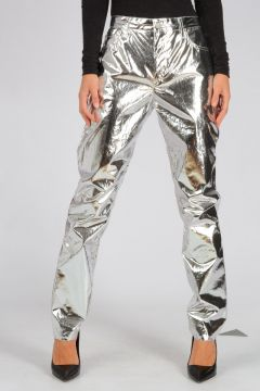 Silver Metallic Cotton JADA Pants