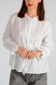 Ramie Embroidery Blouse
