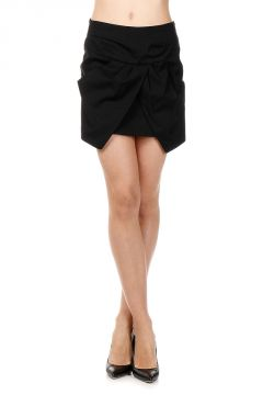 Stretch Linen and Cotton Miniskirt