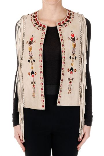 Embroidery Leather Gilet