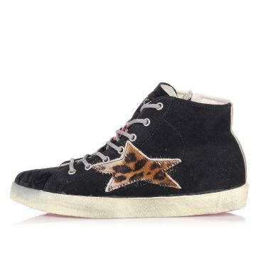 Fabric and Suede High Sneakers