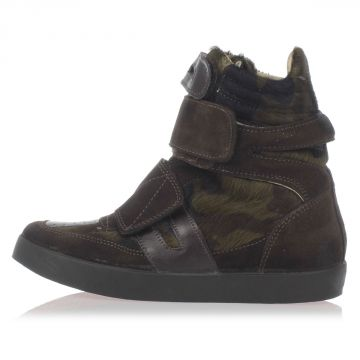 Suede and Pony Leather Sneakers with Inner Wedge