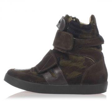 Sneakers in Pelle Scamosciata e Cavallino con Zeppa Interna