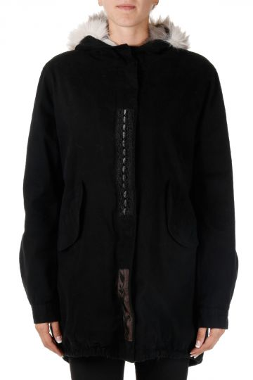 Hooded Coat in Stretch Cotton