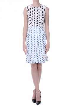 Polka Dot Stretch Denim Dress