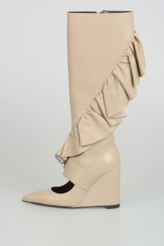 Wedged Ruffle Boots