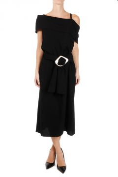 Long Band Dress with Belt