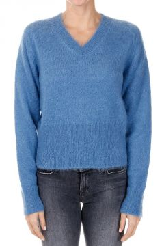 V neck Mohair Blend Sweater