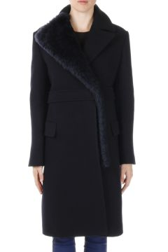 Wool Coat with Lamb Fur Details