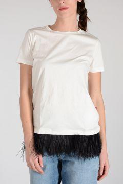 T-shirt con Piume di Struzzo